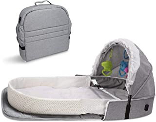 4 in 1 Portable Bassinet, Foldable Baby Bed, Infant Sleeper with Awning and Mosquito Net