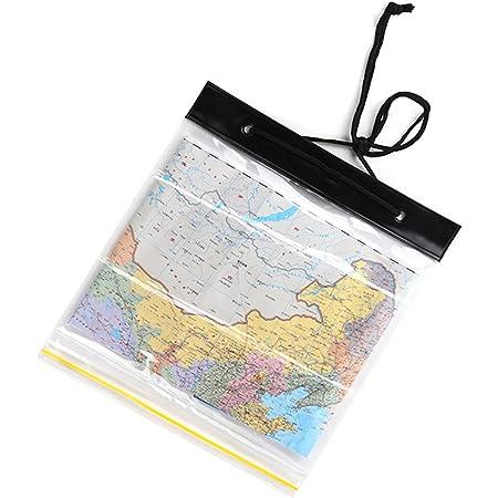 Doyeemei マップケース 地図入れ 100%防水 シールライン 折り畳み 高耐久 透明度の高いTPUウインドウ コンパクト 高い視認性 ブラック 黑色