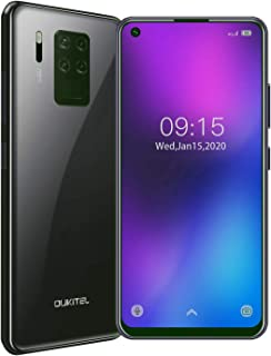 OUKITEL C18 pro(2020) SIMフリースマートフォン本体 真実な4個のカメラ16MP+8MP+5MP+2MP 4Gスマホ本体 6.55''HD+インチ 全画面表示androidスマホ本体 P25 プロセッサー64GB ROM+4GB RAM 4000mAh バッテリーガラス裏蓋携帯電話 指紋認証 顔認証 1年間保証付き、au不可 (ブラック)