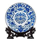 mm Jarrn Decorativo de Porcelana Azul y Blanco, jarrn de Flores de Porcelana Azul y Blanco, Pieza Central Decorativa, jarrn Chino Antiguo de cermica