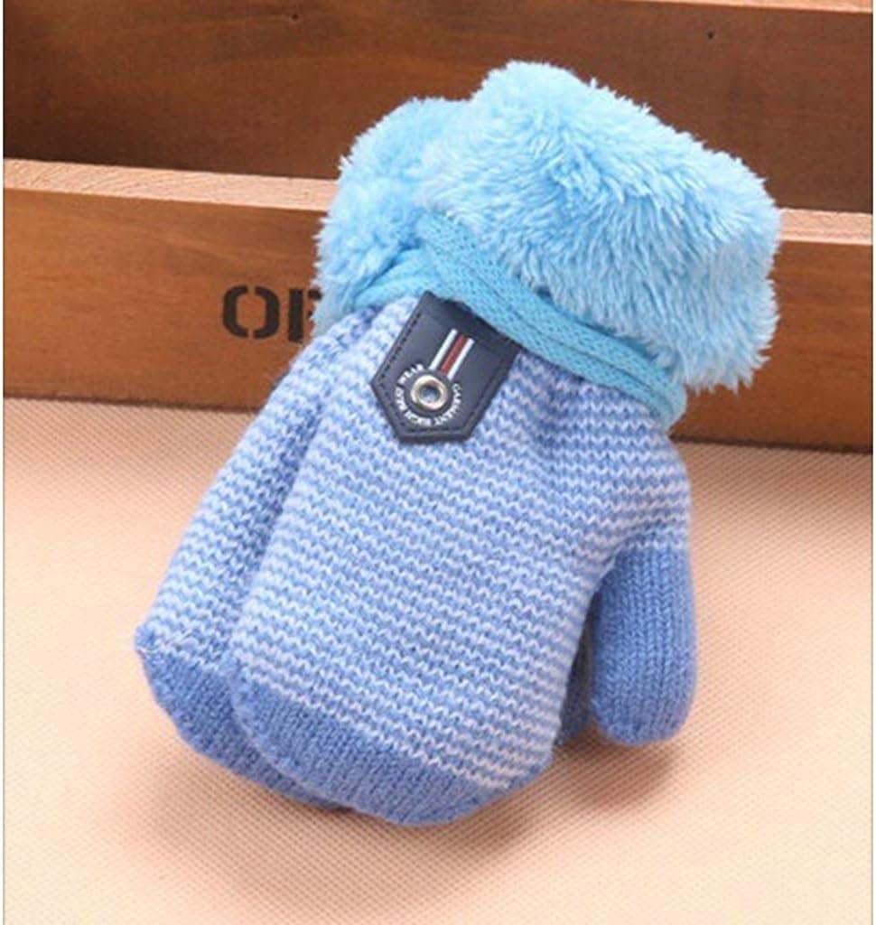 WBDL 0-3 Years Baby Boys Girls Winter Knitted Gloves Warm Rope Full Finger Mittens Gloves for Children Toddler Kids Accessories