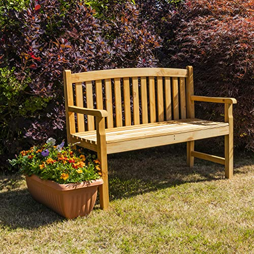 Woodside Outdoor Wooden 2 Seater Bench Garden Patio Furniture