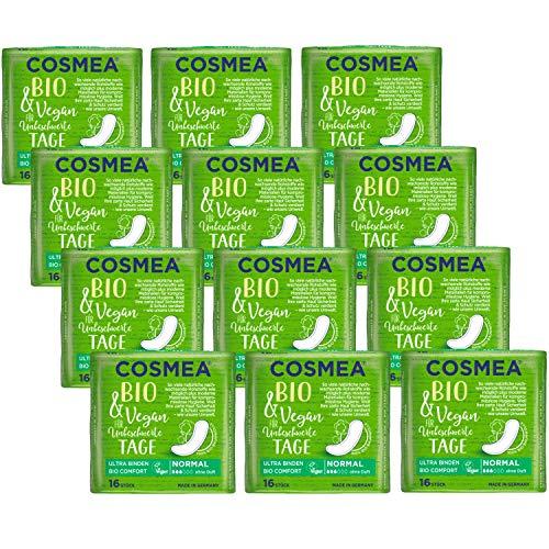 Cosmea Bio Ultra-Binden, Normal ohne Duft, Vorteilspack (12 x 16 Stk). Hygiene-Einlagen aus Bio-Baumwolle. Damen-Hygiene im Einklang mit der Natur