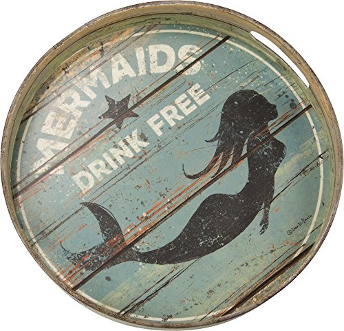 "Primitives by Kathy Round Distressed Decorative Tray, 12.5"", Mermaids Drink"