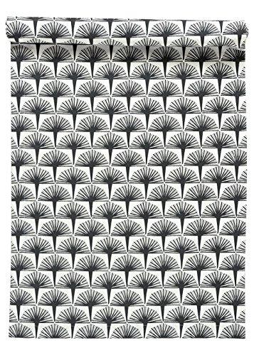 Linum Tischläufer Palmwedel anthrazit 45x150 cm aus Baumwolle (Embla)
