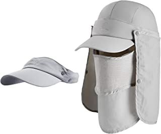 Unisex Sun Fishing Hat Flap Cap with Removable Neck Flap & Face Cover Mask