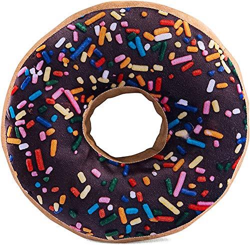 HYSEAS Round Throw Pillow 14 Inch Chocolate Donut, 3D Digital Print Decorative Comfortable Soft...
