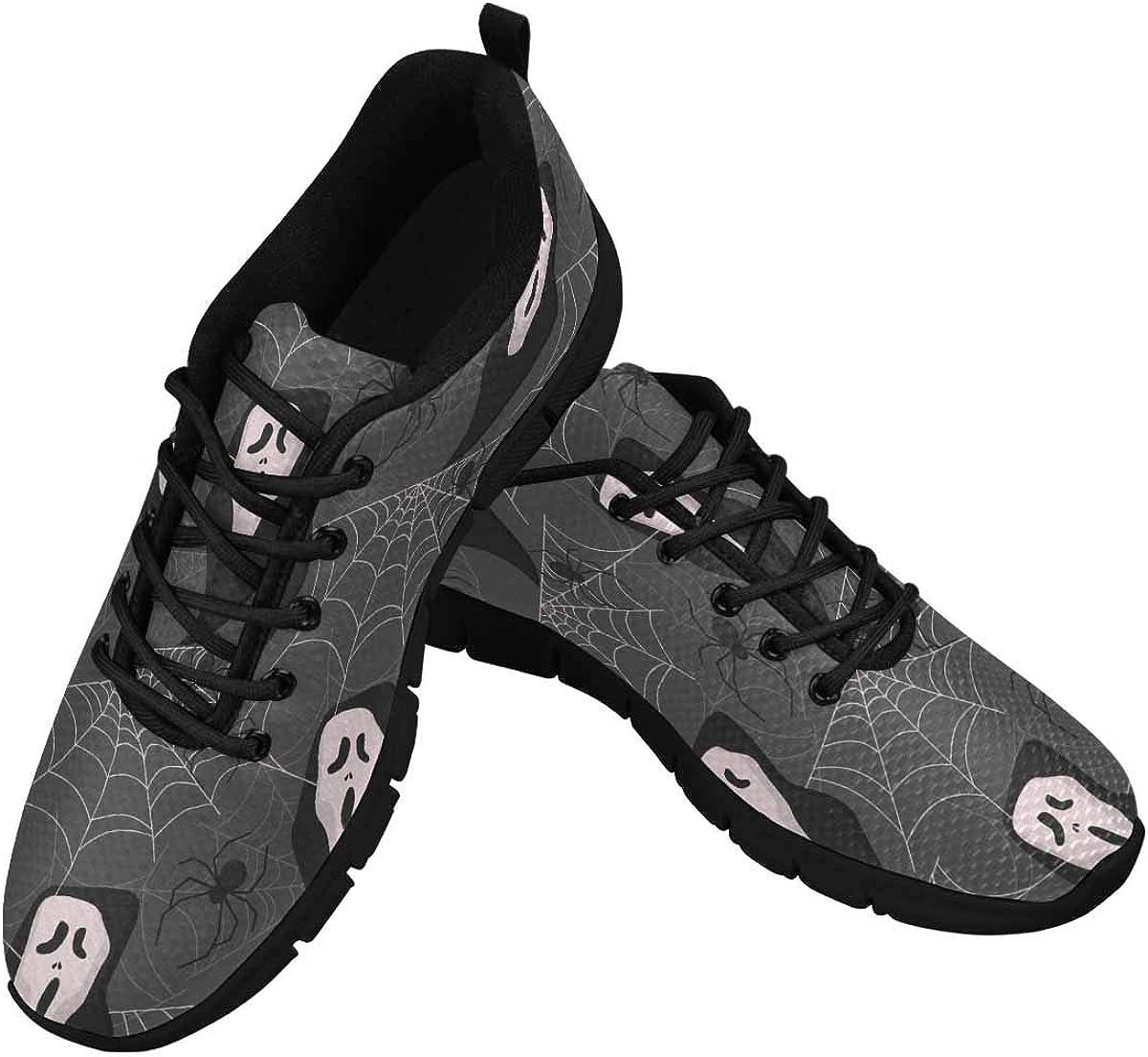 INTERESTPRINT Spooky Autumn Women's Lace Up Breathable Non Slip Sneaker