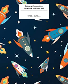 Primary Composition Notebook: Space Rockets and Stars Grades K-2 Kindergarten Writing Journal, Kids Writing Journal