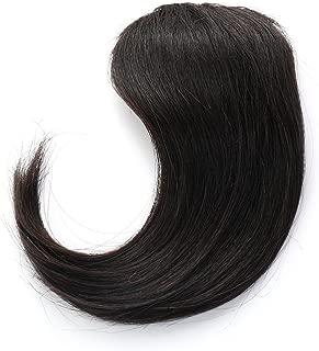 Rosette Hair 100% Human Hair Side-Swept Clip in Hair Bangs - Easy Clip on Hair Extensions Weave Unprocessed Hair Weft (Black)