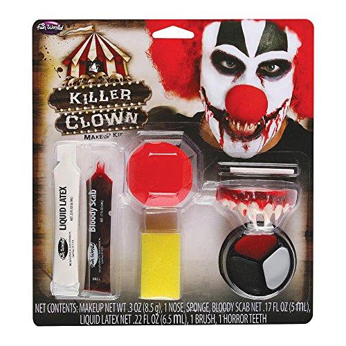 Horror Clown Make-up Kit 9-TLG. mit Schminke, Gebiss und Nase