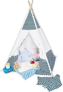 Pinolino 358041 tält tipi dakota av tyg och trä, med fönster, golvmatta och förvaringsväska, för barn från 3 år, tyg med C...