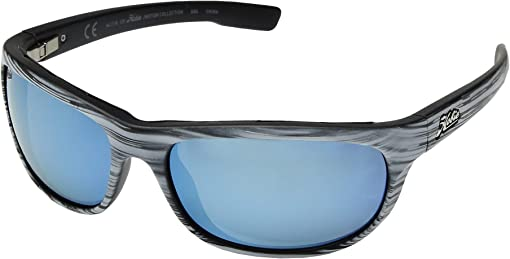 Polarized Satin White Woodgrain/Grey/Blue Mirror Lens