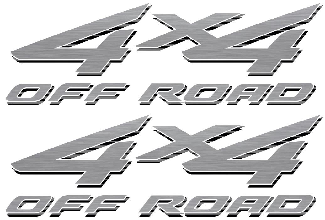 Vinylmark LLC 4x4 Off Road Decals (Silver) - 2002 to 2008 Fits Ford Truck Bed