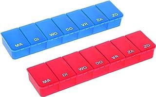 COM-FOUR® 2X medicatiedispenser in het NEDERLANDS - medicatiebox voor 7 dagen - elk 1 vakje - pillendoosje - pillendoosje...