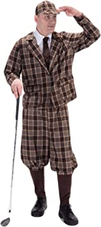 Mens 6 Piece 1930s Golfer Pub Golf Sports Themed Stag Do Fancy Dress Costume Outfit Brown