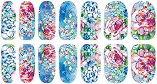 CAOLATOR 3Pcs Pegatinas de Uñas de Art Flores Moda Línea de Manicura Calcomanías Uña DIY Accesorios Para Uso Profesional o en el Hogar (Azul claro)