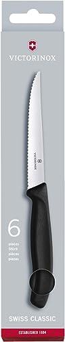 Victorinox Swiss Classic Bloc Porte-Couteaux, 6 Pièces Set de Couteaux à Steak avec Tranchant Denté, Lavable au Lave-...