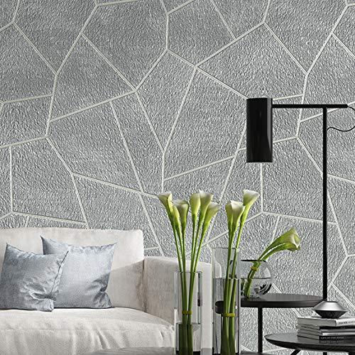 Tapete 3D Samt Geometrische Tapete Grau Braun Schlafzimmer Wohnzimmer Dekoration Tapete Moderne Geprägte Textur Beflockung Wandverkleidung P05002 Wandbild Wandaufkleber