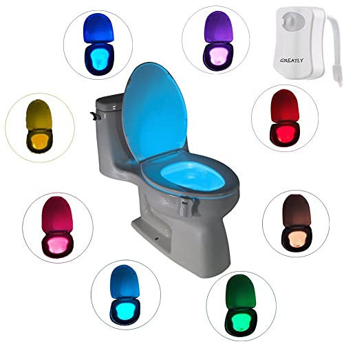 Toilet Night Light,Canika LED Motion Activated Toilet Night Light,8-Color Motion Sensor LED Toilet Light