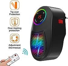 AKQ Calefactor Portátil Eléctrico Bajo Consumo Mini Termoventilador Baño LED Colorido con Termostato Ajustable y Control Remoto