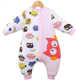 Saco de dormir para bebé con piernas divididas, pijama para niños pequeños, algodón, primavera y otoño, saco de dormir unisex de doble uso, anti-patada y manga larga, 6-18 meses