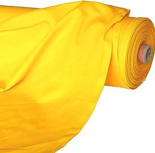 TOLKO Baumwollstoff | 42 kräftige ÖkoTex Farben Baumwoll-Nesselstoff uni Kleiderstoff Dekostoff | Baumwolle Meterware 150cm breit | Vorhang-Stoff Bezugsstoff Webstoff 50cm Gelb