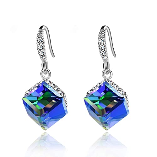 68d1bfd42e523a Colorful Cube Swarovski Crystal Earrings for Women Girls 14K Gold Plated  Color Changing Drop Earrings