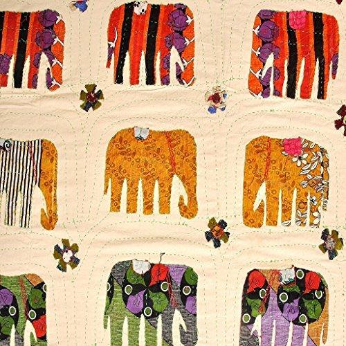 NANDNANDINI - Hermoso colcha/colcha de cama Amarosi, color blanco, 90' x 60' algodón kantha/apliques hechos a mano en Jaipur India (1, individual)