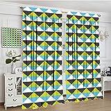 Cortinas opacas geométricas, rayas horizontales, rombo abstracto, patrón moderno, colores vivos, 2 paneles, juego de cortinas de ventana, 72 pulgadas de ancho x 72 pulgadas de largo, multicolor