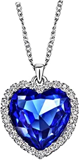 Neoglory Blue Crystals Heart Love Shaped Necklaces & Pendants Jewelry Women 18+2inch