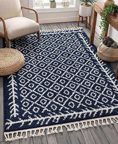 Well Woven Marokkanischer Teppich mit Diamant-Medaillon-Muster, Weiß, Synthetisch, Marokkoblau, 220 x 160 cm