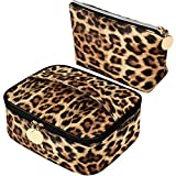 2 Pieces Leopard Print Cosmetic Bag Cheetah Makeup Bag Leopard Brush bag Toiletry Travel Bag Portable Pouch Bag with Zipper for Women Girls