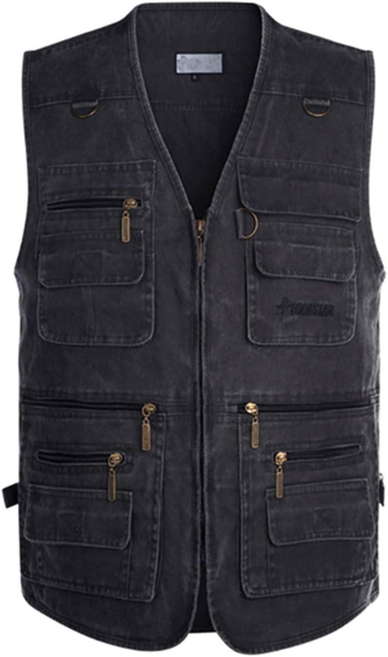 NC Spring and Autumn Cotton Washed Multi-Pocket Multi-Pocket Vest 16 Solid Pockets Outdoor Hiking Vest L001