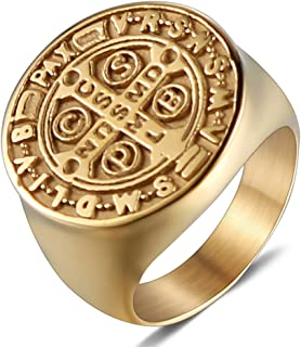 Men Gold Plated Stainless Steel Catholic St Benedict Exorcism Signet Ring Cross Band
