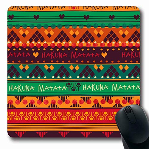 Mousepad Oblong Hakuna Stammesmuster Zusammenfassung Kenianische Matata Fliesen Marokkanischer Schal Geometrische Afrika Afroamerikaner rutschfeste Gummi Mauspad Büro Computer Computer Laptop Spielmat
