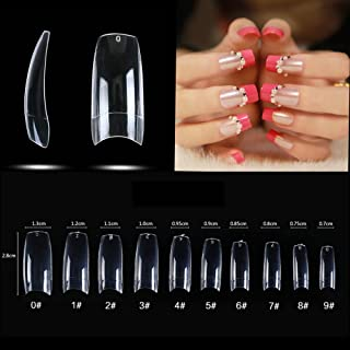 500pcs French Acrylic False Artificial Nail Art Tips Half Cover Fake Nail Tips for Lady 10 design with bag (Clear)