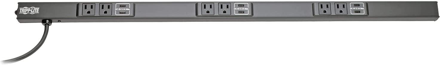 Tripp Lite 6 Outlet Power Strip with USB-A Charging (9.3A), NEMA 5-15R Outlets, 120V, 15A, 10 ft. Cord, 5-15P Plug, Black (PSC360610USBB)