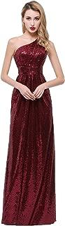 One Shoulder Bridesmaid Dresses Sequins Long Pleats Belt Prom Party Gowns