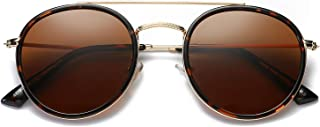 Small Round Double Bridge Sunglasses For Women Men...