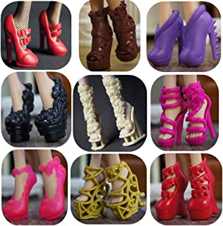 DoubleWood 10 Pairs Assorted Doll Shoes Replacement for Monster High Doll Fashion High Heels Sandals Boots Shoes Pack Acce...