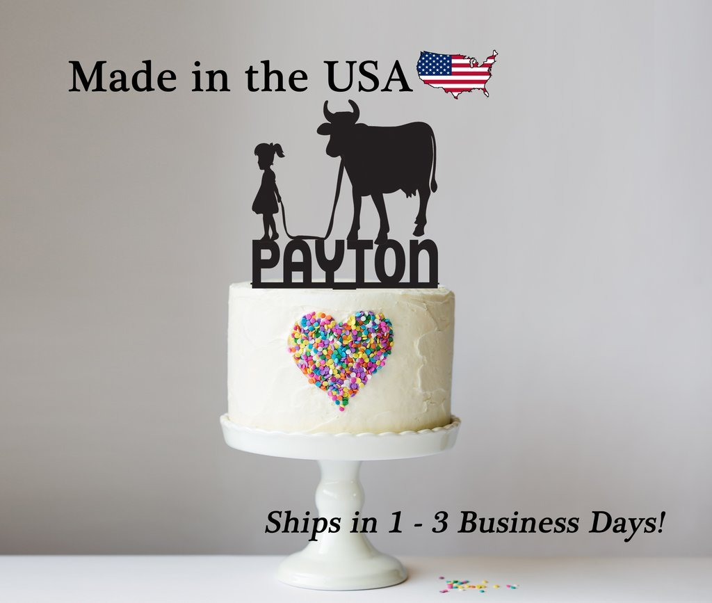 Cow and Girl, Farm Girl, Cowgirl Cake Topper with FREE Keepsake Base, Personalize, Party Decor, Cake Topper, Farmer, Birthday Party, Zoo Theme, Keepsake