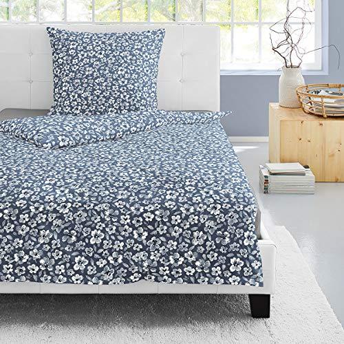 Irisette Edel-Feinbiber Bettwäsche Feel Blumen blau 1 Bettbezug 155 x 220 cm + 1 Kissenbezug 80 x 80 cm