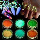 Kalolary 6P Luminous Butterfly Nail Sequins,3D Holographic Butterfly Sequins Color Halloween...