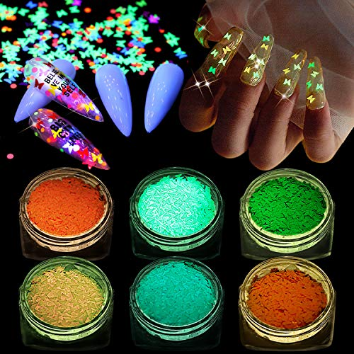 Kalolary 6P Luminous Nail Pailletten, 3D Holographic Nail Art Pailletten Farbe Glitter Butterfly Glow In The Dark Nail Art Aufkleber für DIY Nail Art Dekoration