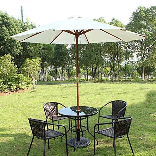 Sombrilla Terraza Parasol Jardin 2.7m Blanco Paraguas de La Sombra del Patio con Palo de Madera y 8 Varillas, Mercado Al Aire Libre Sombrilla Beige Sunbrella para Balcón/Césped/Piscina, Tejido Que