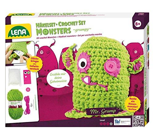Lena 42524 - Häkelset Grumpy Monster, Komplettset zum Häkeln von 2 Glücksbringern mit Häkelnadel, Nähnadel, Wolle, Garne, Filzmaterial, Knöpfe und Watte zum Füllen, Bastelset für Kinder ab 8 Jahre