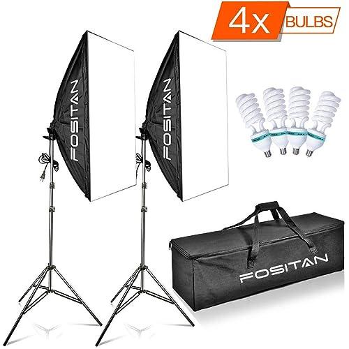 FOSITAN 50x70cm Softbox Kit d'éclairage 1600W 5500K Kit d'éclairage continu incluant 2M Support de lumière et 4X E27 CFL Ampoules Kit de Lumière pour Portrait, l'éclairage Photographique