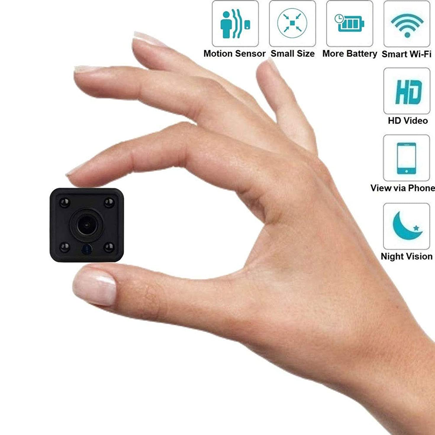 XHMCDZ Hidden Camera 1080P HD Mini Spy Camera Small Wireless Camera Tiny Covert Cam Security WiFi Surveillance Camera Video Recorder with Night Vision/Motion Detection for iPhone/Android Phone/iPad