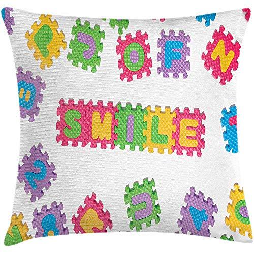 Fodera per cuscino del cuscino di tiro di puzzle ABC, testo di sorriso scritto con lettere di puzzle Illustrazione a tema per bambini creativi, Federa di accento quadrata decorativa multicolore